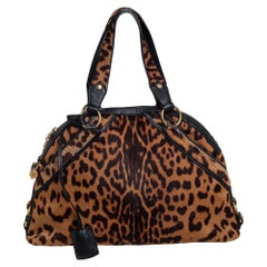 Yves Saint Laurent Animal Print Calf Hair And Leather Large Muse Bag