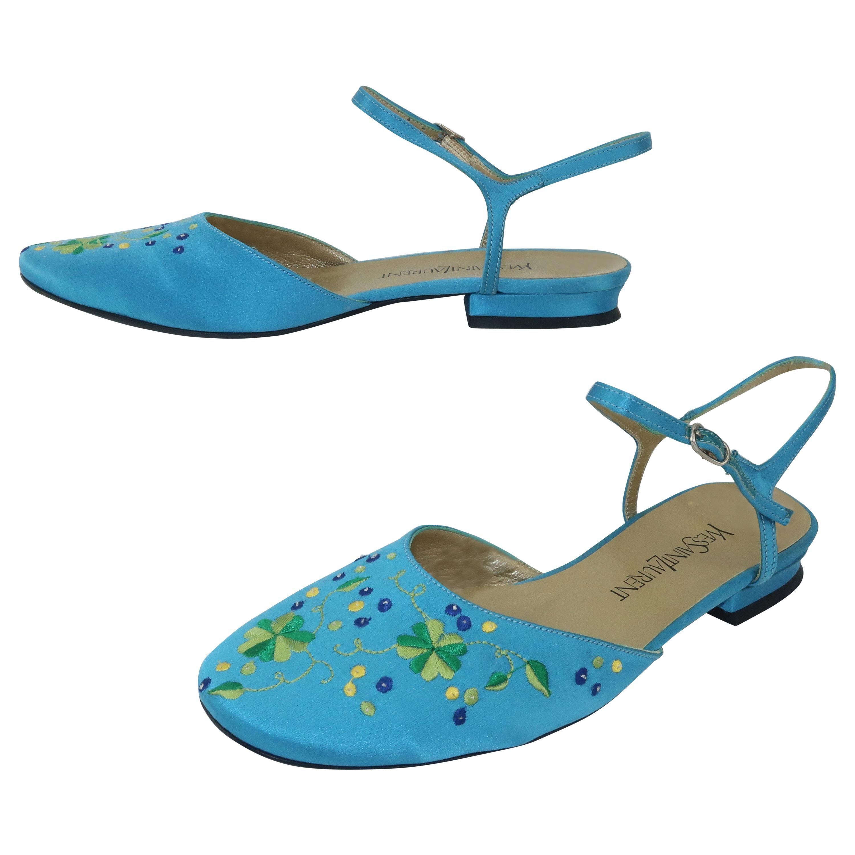 Yves Saint Laurent Aqua Blue Satin Embroidered Shoes Sz 6