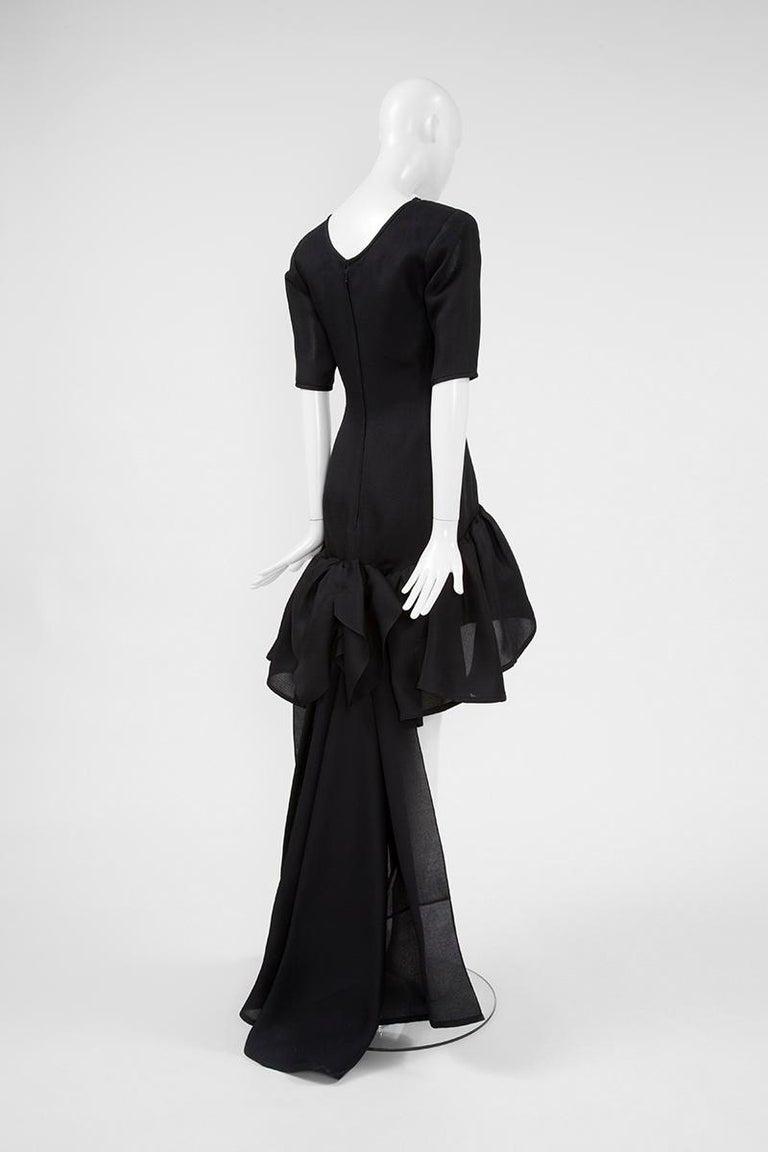 Yves Saint Laurent Asymmetric Ruffled Bow Evening Dress For Sale 7