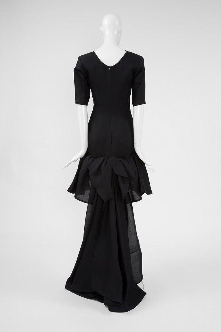 Yves Saint Laurent Asymmetric Ruffled Bow Evening Dress For Sale 9
