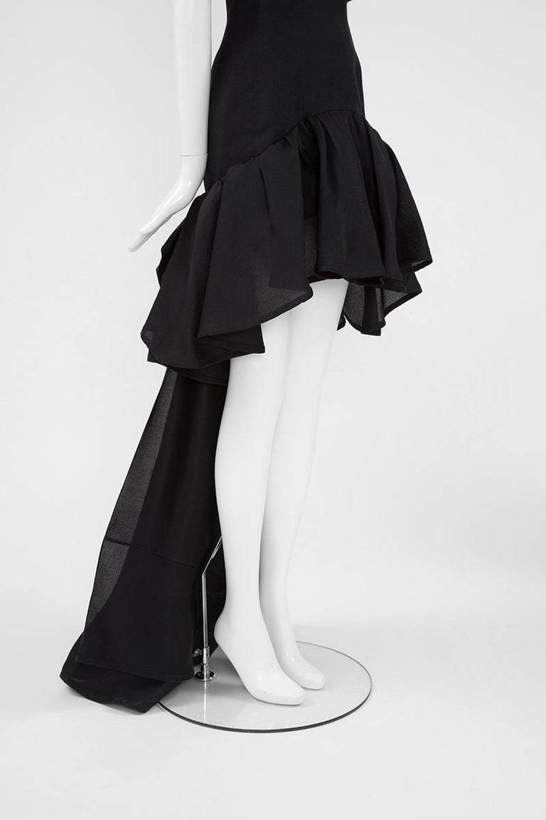 Yves Saint Laurent Asymmetric Ruffled Bow Evening Dress For Sale 4