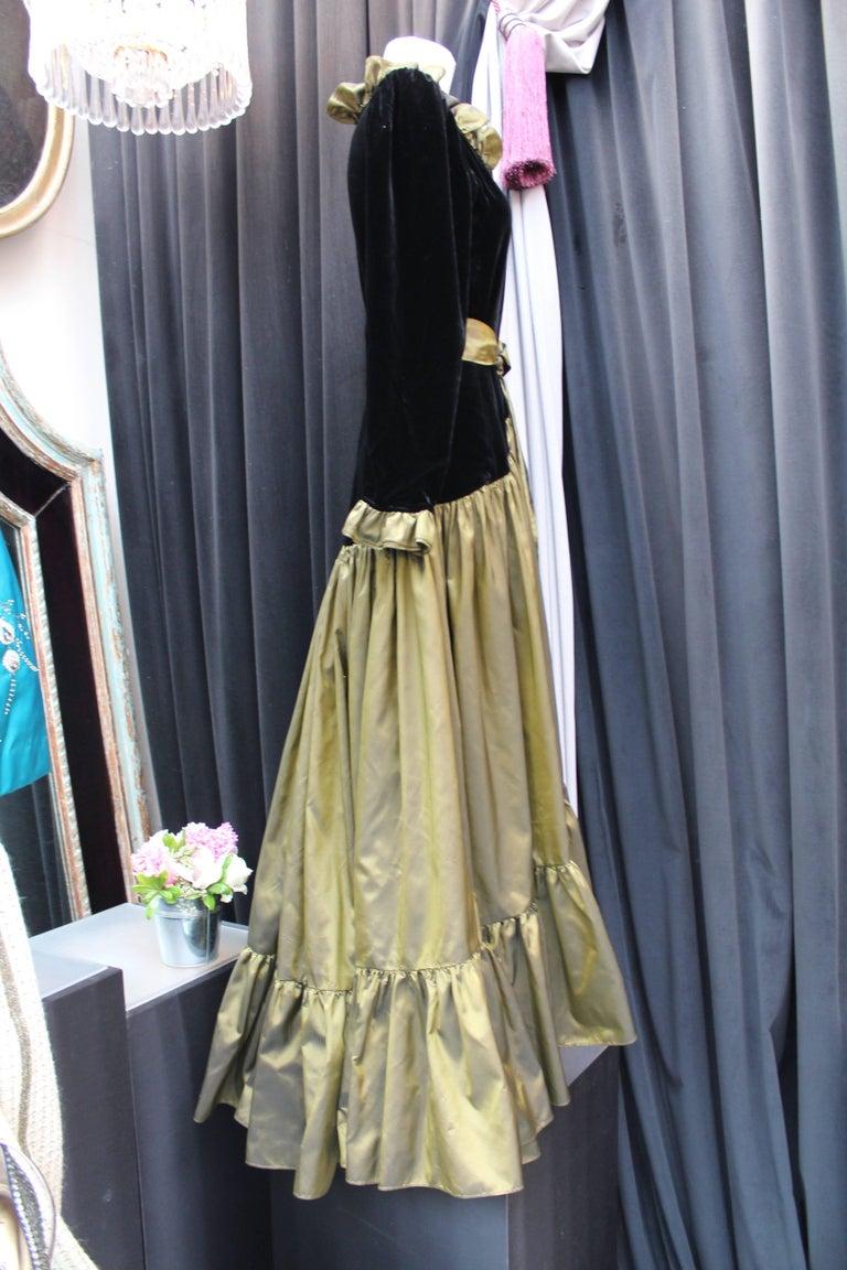 Black Yves Saint Laurent asymmetrical black velvet and khaki taffeta evening gown For Sale
