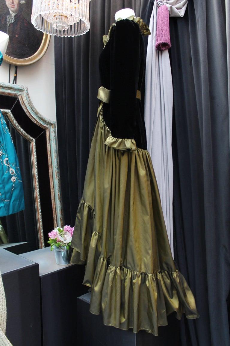 Women's or Men's Yves Saint Laurent asymmetrical black velvet and khaki taffeta evening gown For Sale