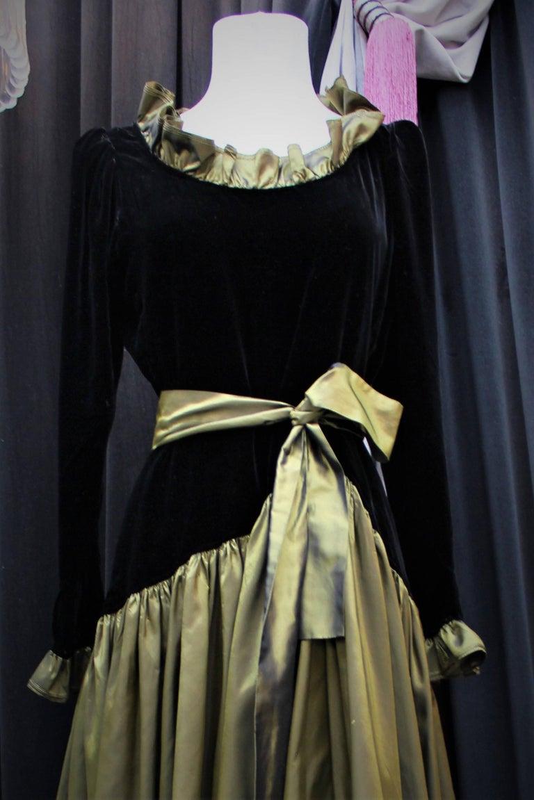 Yves Saint Laurent asymmetrical black velvet and khaki taffeta evening gown For Sale 1
