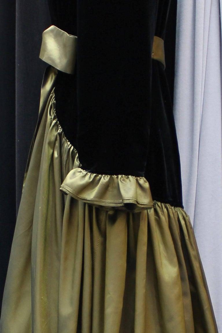 Yves Saint Laurent asymmetrical black velvet and khaki taffeta evening gown For Sale 2