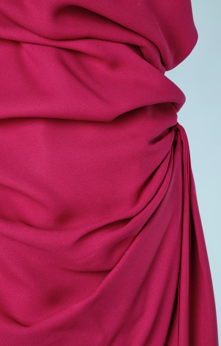 Red Yves Saint Laurent asymmetrical fuchsia crepe long evening dress For Sale