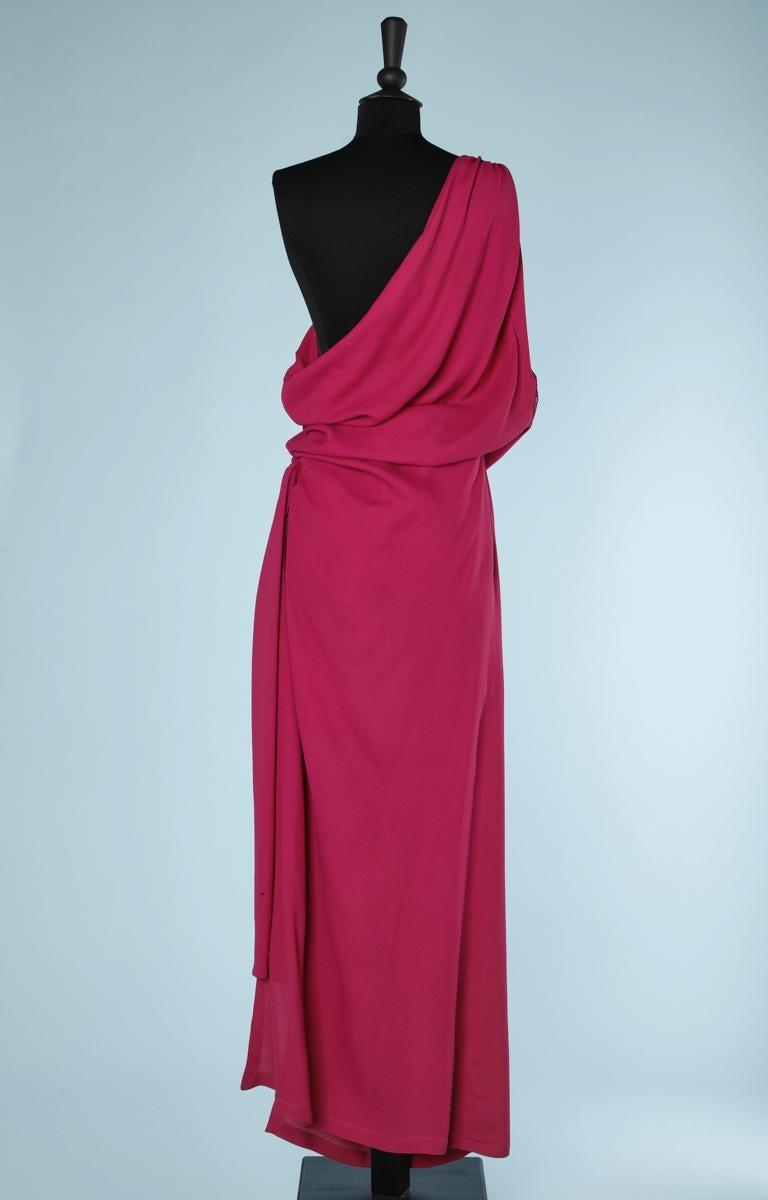Yves Saint Laurent asymmetrical fuchsia crepe long evening dress For Sale 1