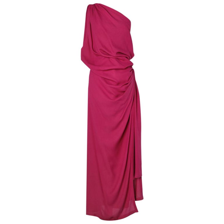 Yves Saint Laurent asymmetrical fuchsia crepe long evening dress For Sale