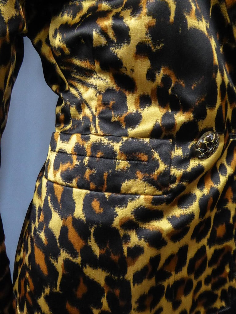 Yves Saint Laurent Printed Panther Satin (attributed to) Skirt Suit Circa 1990 For Sale 5