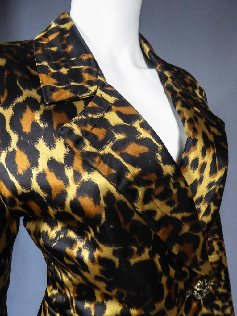Yves Saint Laurent Printed Panther Satin (attributed to) Skirt Suit Circa 1990 For Sale 6