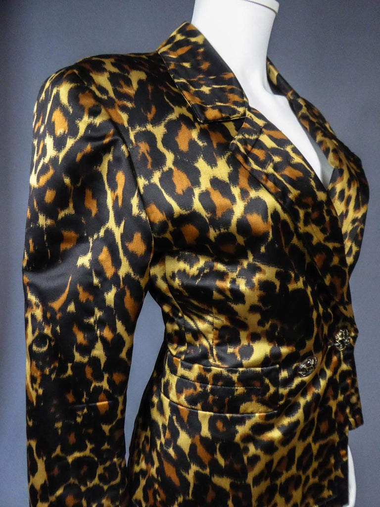 Yves Saint Laurent Printed Panther Satin (attributed to) Skirt Suit Circa 1990 For Sale 7