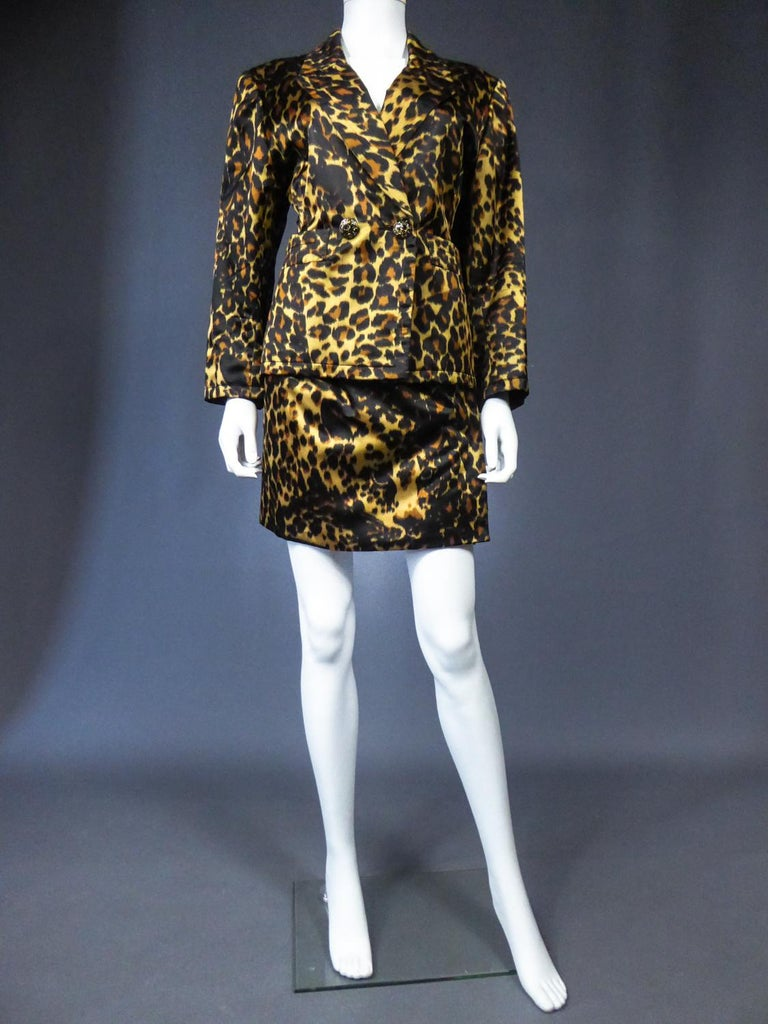 Black Yves Saint Laurent Printed Panther Satin (attributed to) Skirt Suit Circa 1990 For Sale