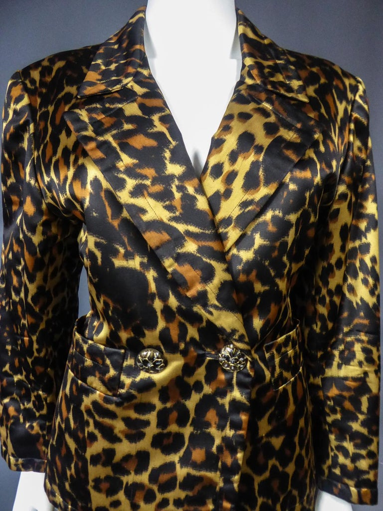 Women's Yves Saint Laurent Printed Panther Satin (attributed to) Skirt Suit Circa 1990 For Sale