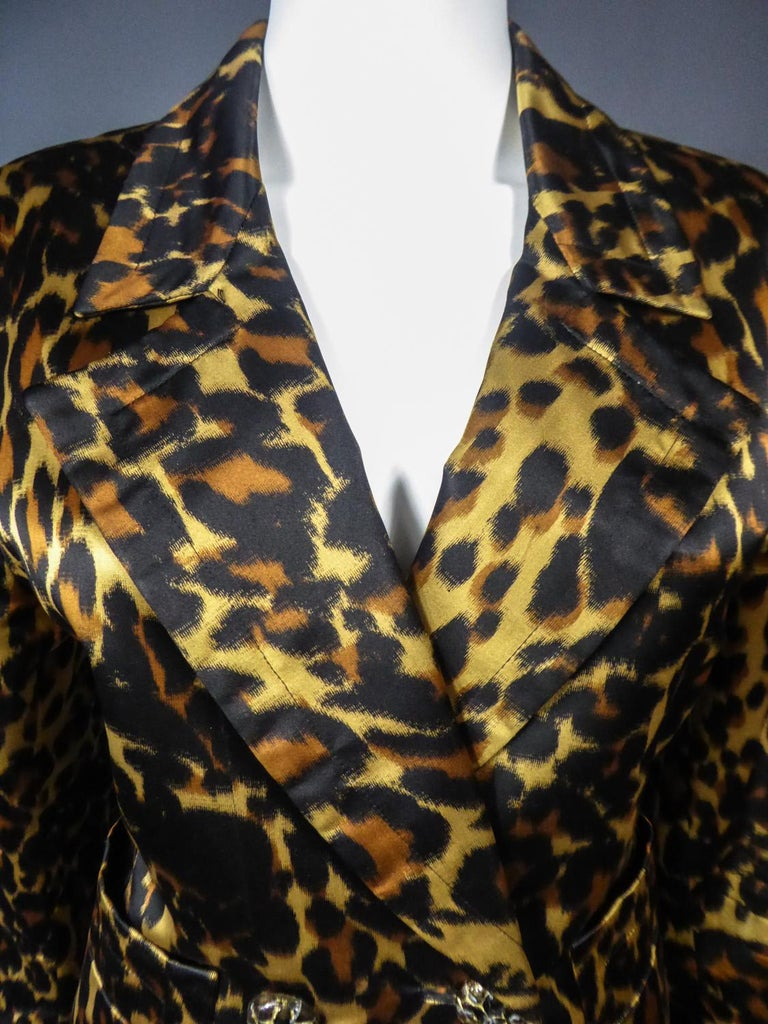Yves Saint Laurent Printed Panther Satin (attributed to) Skirt Suit Circa 1990 For Sale 1