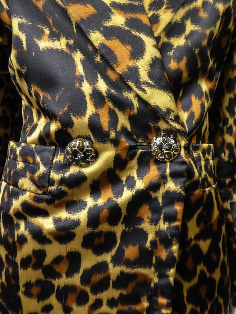 Yves Saint Laurent Printed Panther Satin (attributed to) Skirt Suit Circa 1990 For Sale 2