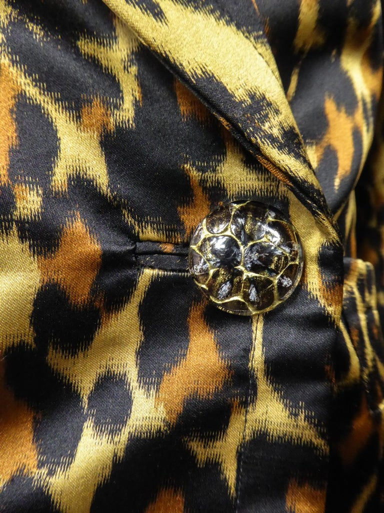 Yves Saint Laurent Printed Panther Satin (attributed to) Skirt Suit Circa 1990 For Sale 3