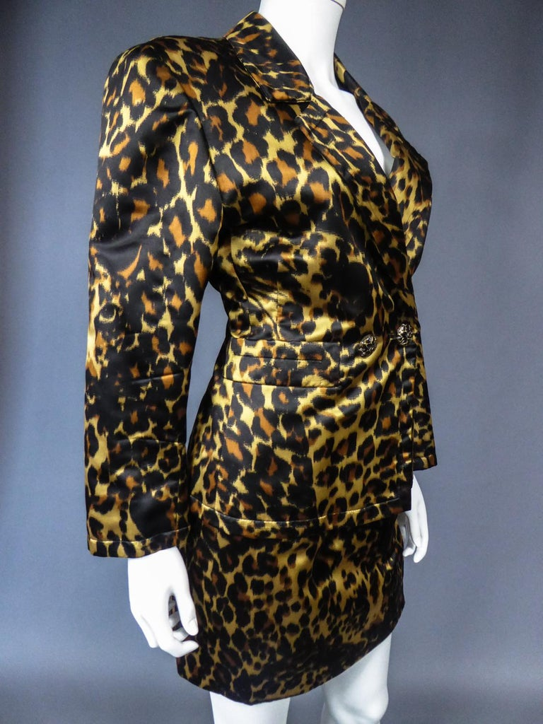Yves Saint Laurent Printed Panther Satin (attributed to) Skirt Suit Circa 1990 For Sale 4
