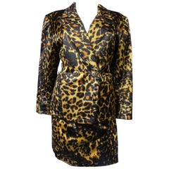 Yves Saint Laurent Printed Panther Satin (attributed to) Skirt Suit Circa 1990