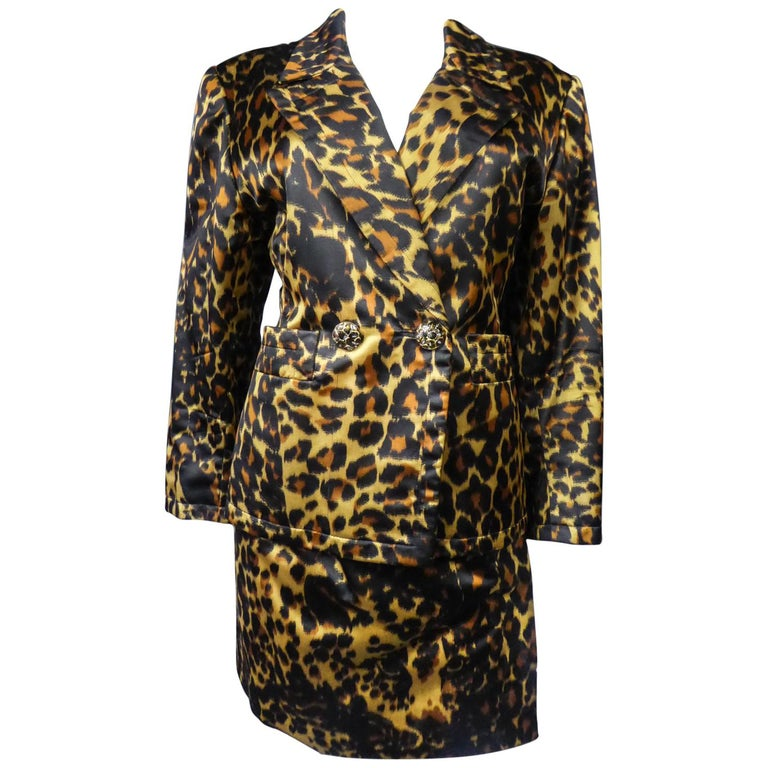 Yves Saint Laurent Printed Panther Satin (attributed to) Skirt Suit Circa 1990 For Sale