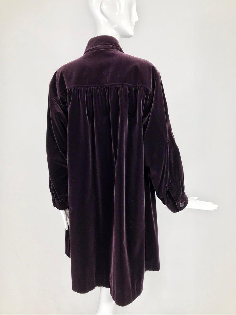 Yves Saint Laurent Aubergine Velvet Smock Coat 1970s  For Sale 6