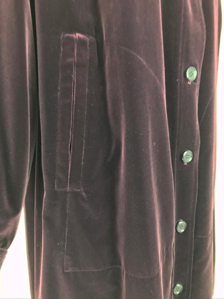 Yves Saint Laurent Aubergine Velvet Smock Coat 1970s  For Sale 8