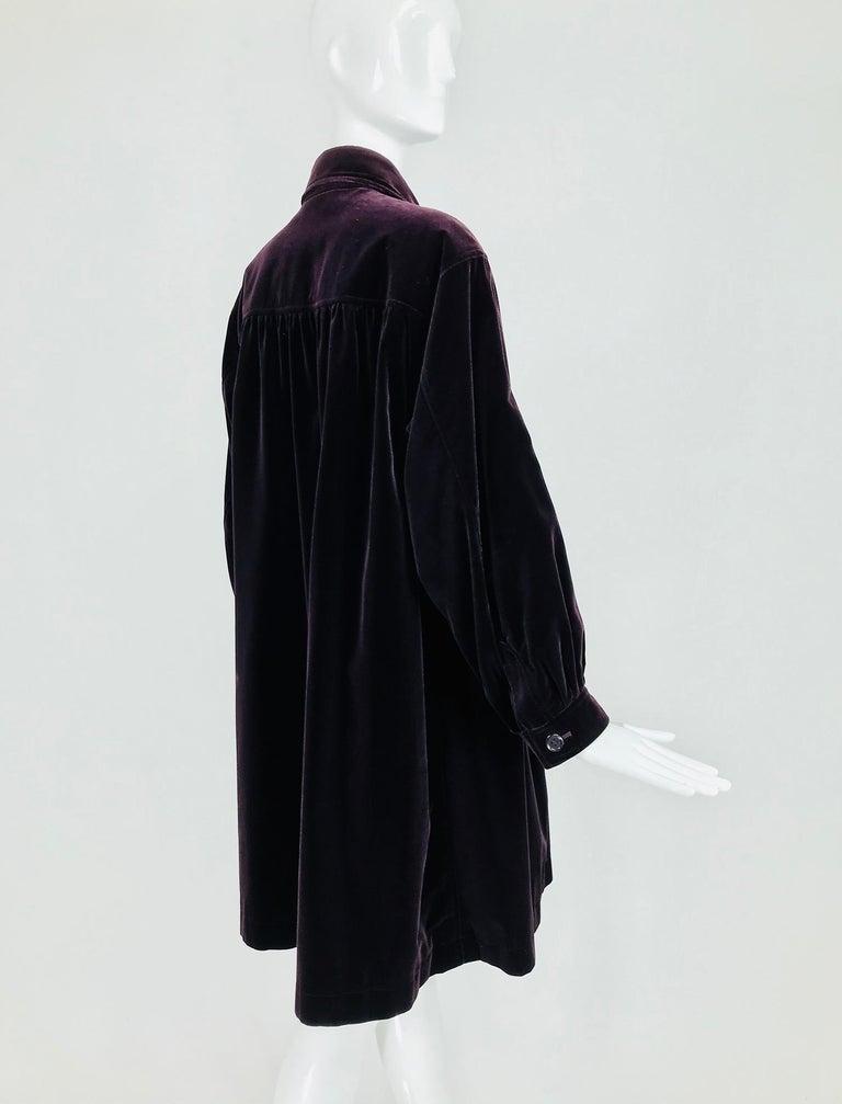 Yves Saint Laurent Aubergine Velvet Smock Coat 1970s  In Good Condition For Sale In West Palm Beach, FL