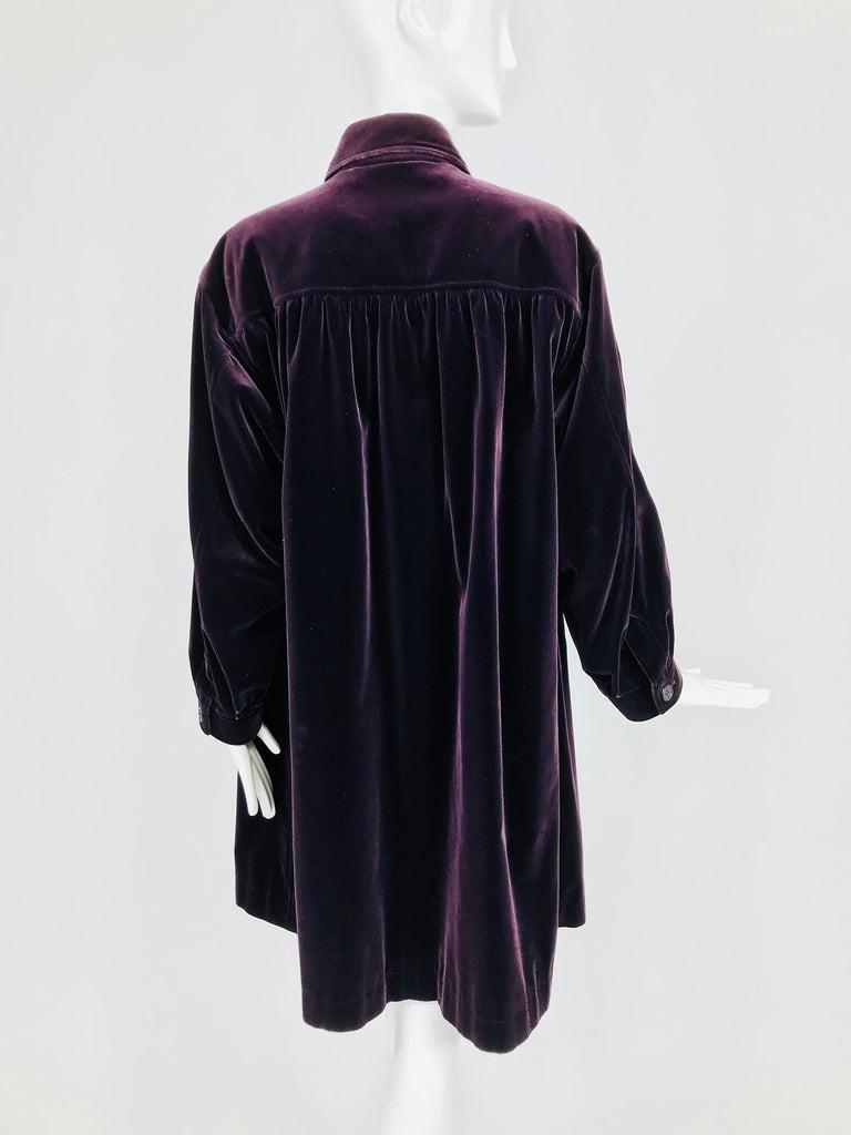 Women's Yves Saint Laurent Aubergine Velvet Smock Coat 1970s  For Sale