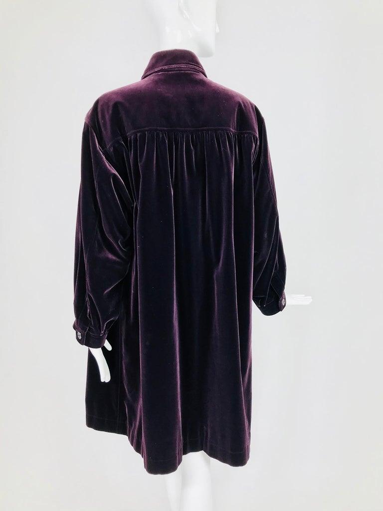 Yves Saint Laurent Aubergine Velvet Smock Coat 1970s  For Sale 1