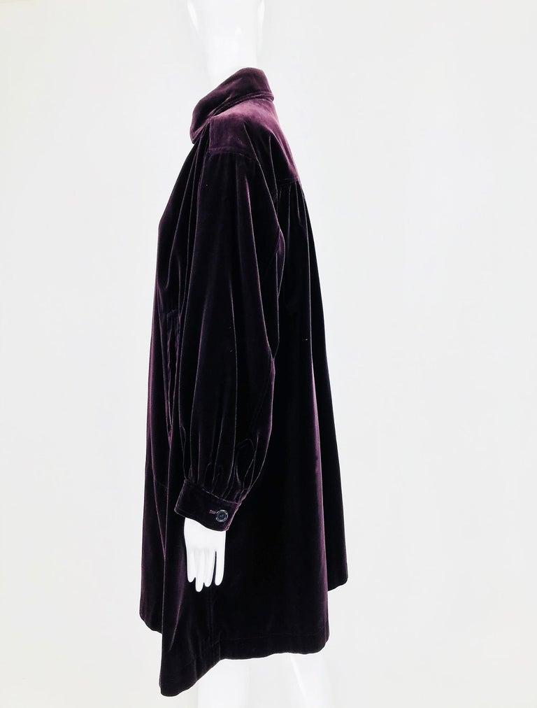 Yves Saint Laurent Aubergine Velvet Smock Coat 1970s  For Sale 2
