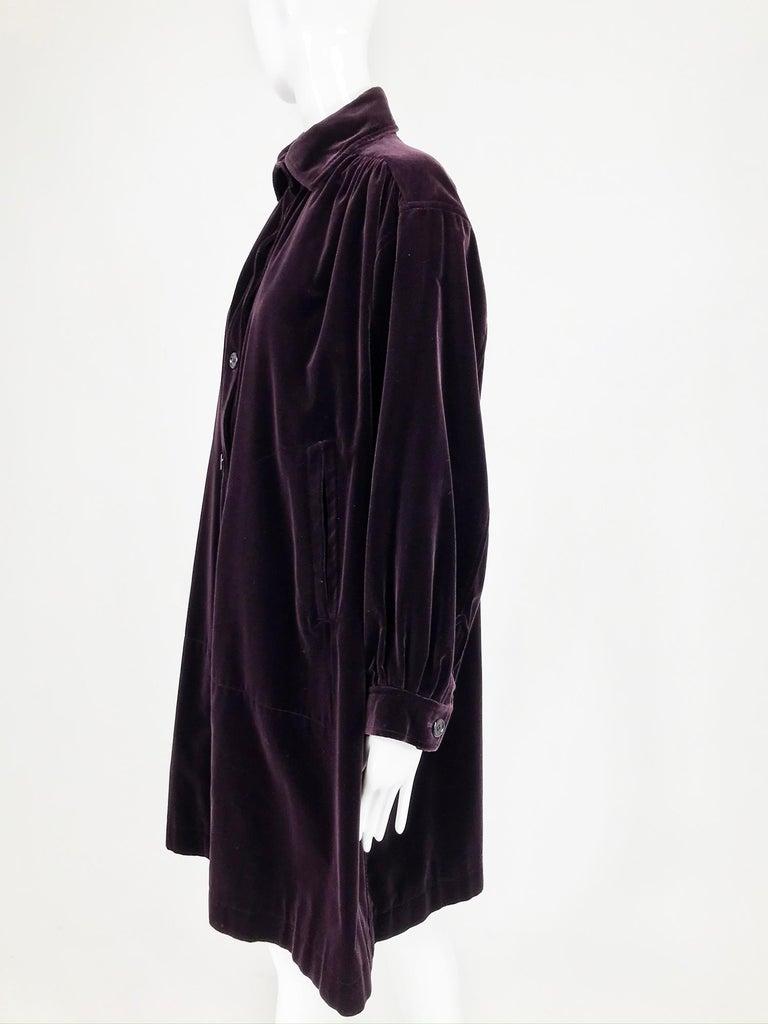 Yves Saint Laurent Aubergine Velvet Smock Coat 1970s  For Sale 3