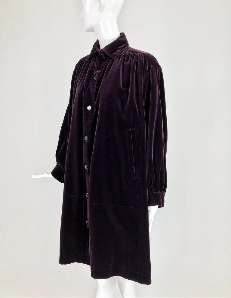 Yves Saint Laurent Aubergine Velvet Smock Coat 1970s  For Sale 4