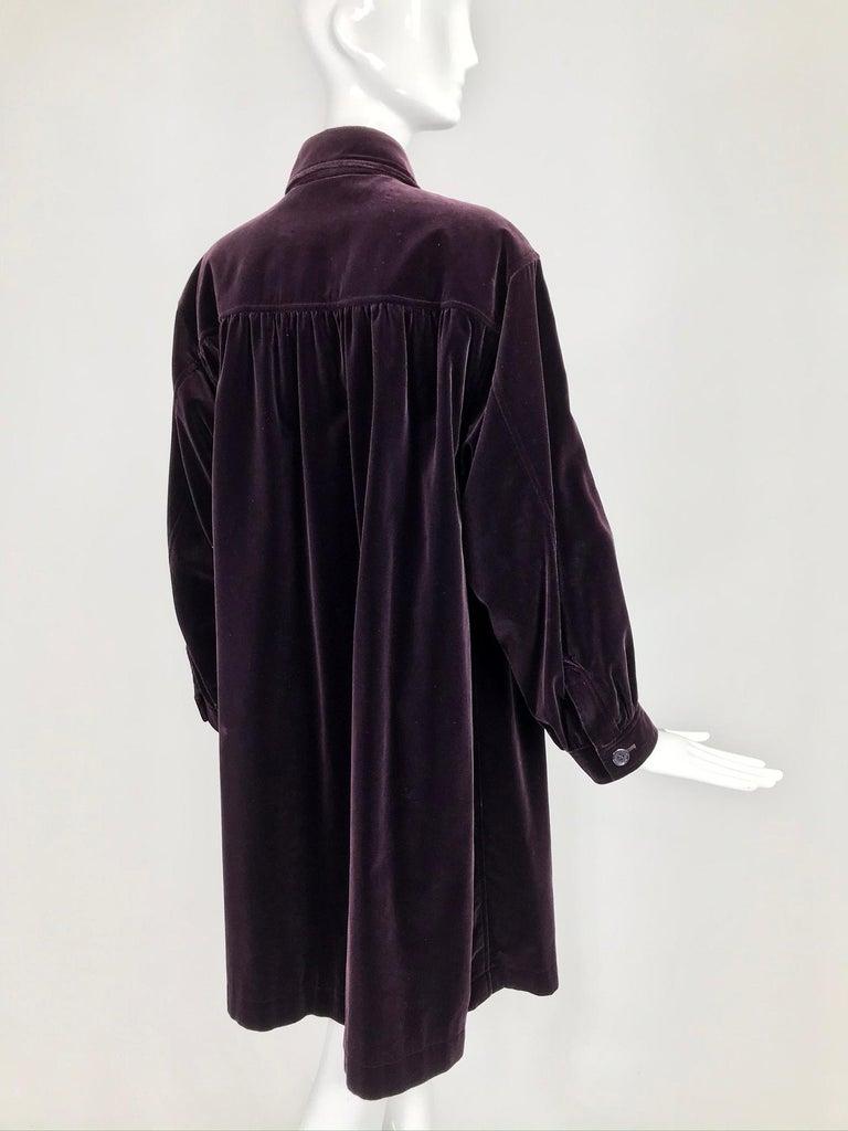 Yves Saint Laurent Aubergine Velvet Smock Coat 1970s  For Sale 5