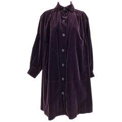 Yves Saint Laurent Aubergine Velvet Smock Coat 1970s