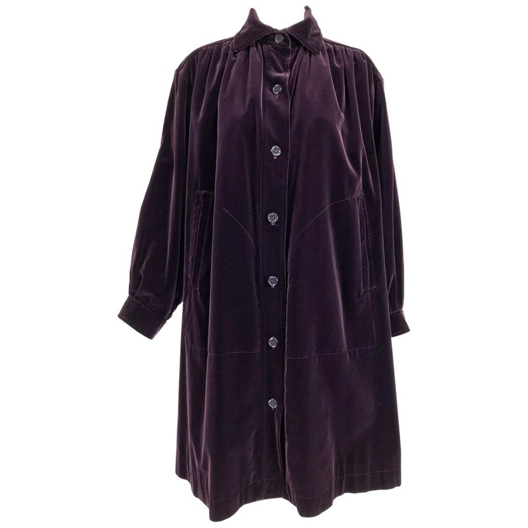 Yves Saint Laurent Aubergine Velvet Smock Coat 1970s  For Sale