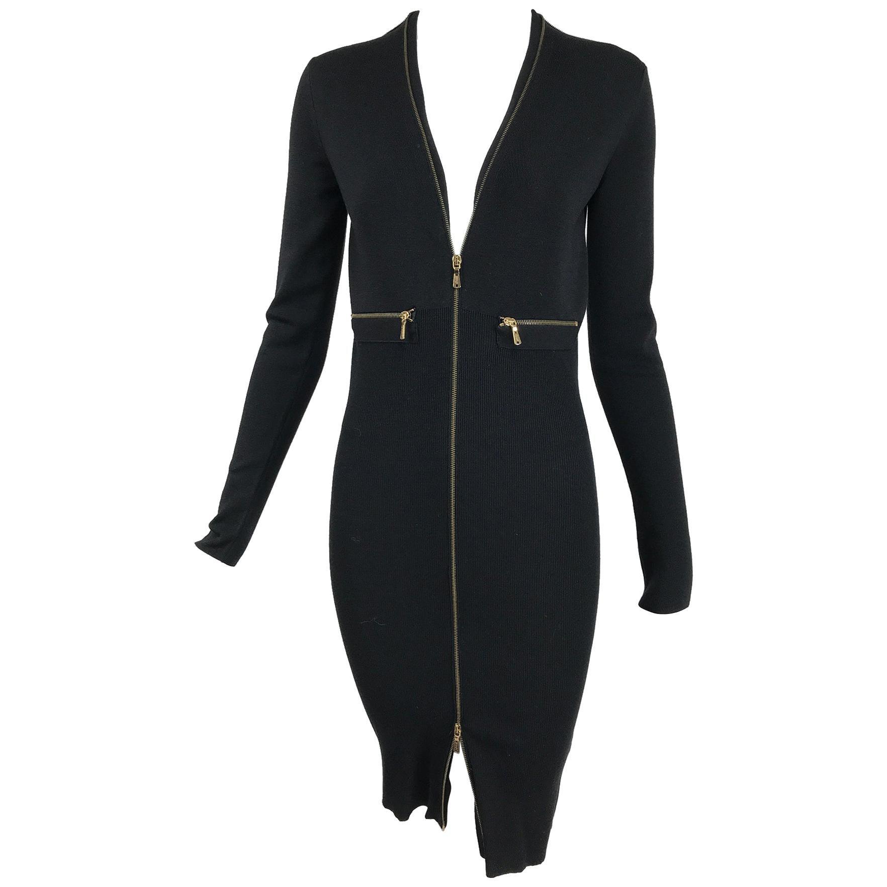 Yves Saint Laurent Autumn/Winter 2008 Ribbed Wool Zipper Front Body Con Dress