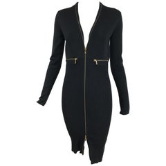 Yves Saint Laurent Autumn/Winter 2008 Ribbed Wool Zipper Front Body Con Dress