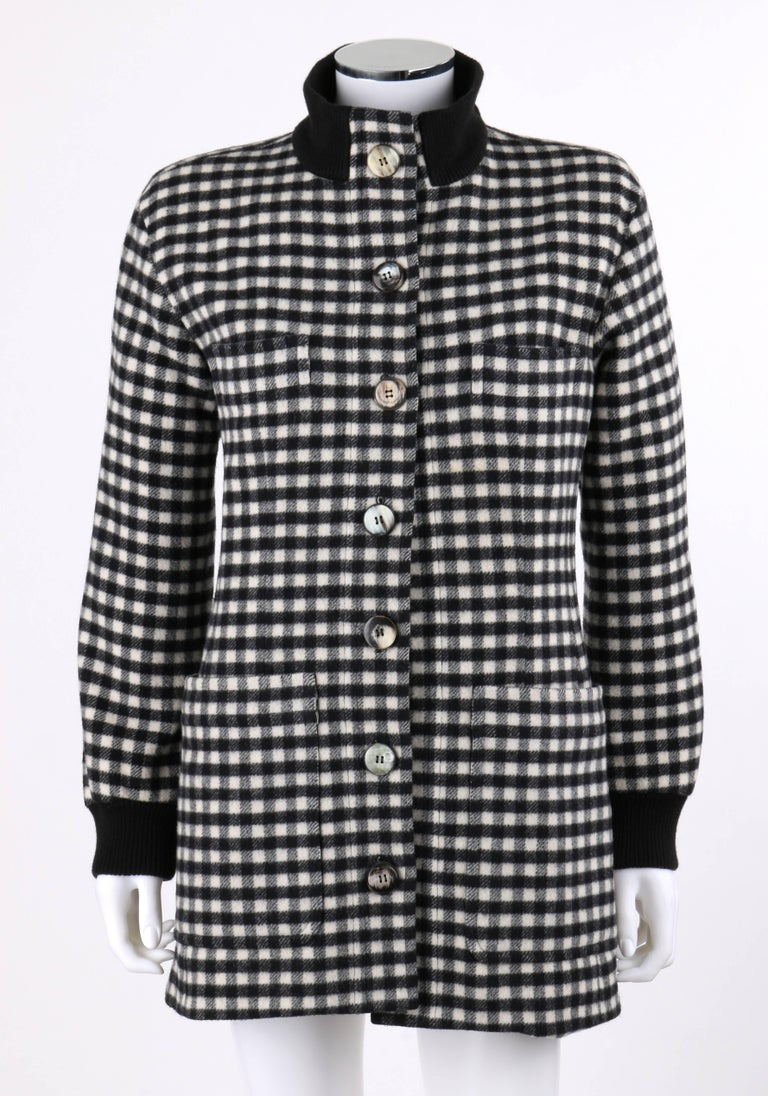 YVES SAINT LAURENT A/W 1992 YSL Black & White Wool Shepherd Check Belted Coat In Good Condition For Sale In Thiensville, WI