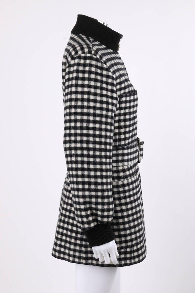 Women's YVES SAINT LAURENT A/W 1992 YSL Black & White Wool Shepherd Check Belted Coat For Sale