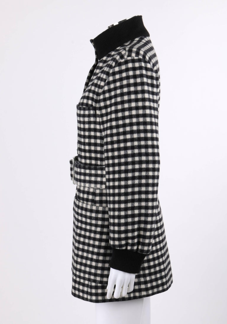 YVES SAINT LAURENT A/W 1992 YSL Black & White Wool Shepherd Check Belted Coat For Sale 2