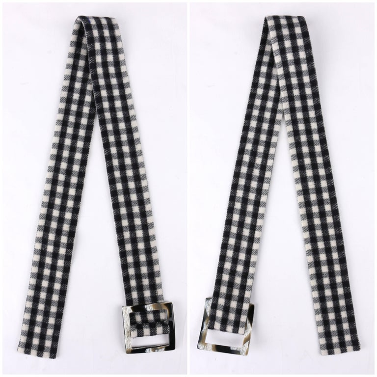 YVES SAINT LAURENT A/W 1992 YSL Black & White Wool Shepherd Check Belted Coat For Sale 3