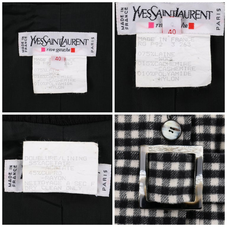 YVES SAINT LAURENT A/W 1992 YSL Black & White Wool Shepherd Check Belted Coat For Sale 4