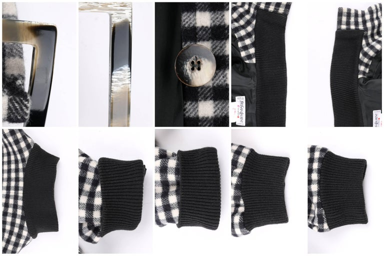 YVES SAINT LAURENT A/W 1992 YSL Black & White Wool Shepherd Check Belted Coat For Sale 5