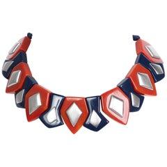 Yves Saint Laurent Bakelite Necklace Earrings Set Limited Edition YSL, 1970s