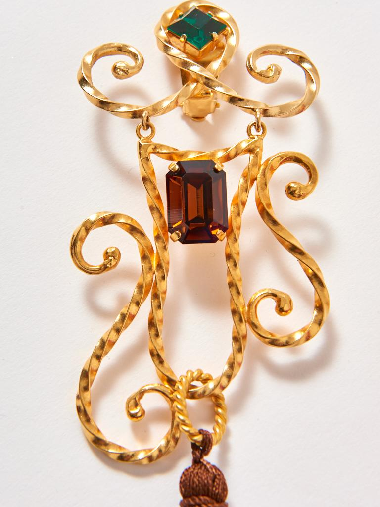 Yves Saint Laurent Baroque Tasseled Shoulder Sweepers Clip On Earrings In Good Condition For Sale In New York, NY