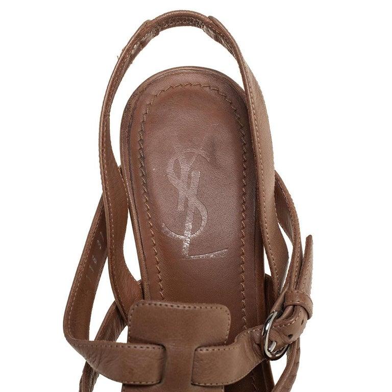 Women's Yves Saint Laurent Beige Braided Leather Hamptons Platform Sandals Size 37 For Sale