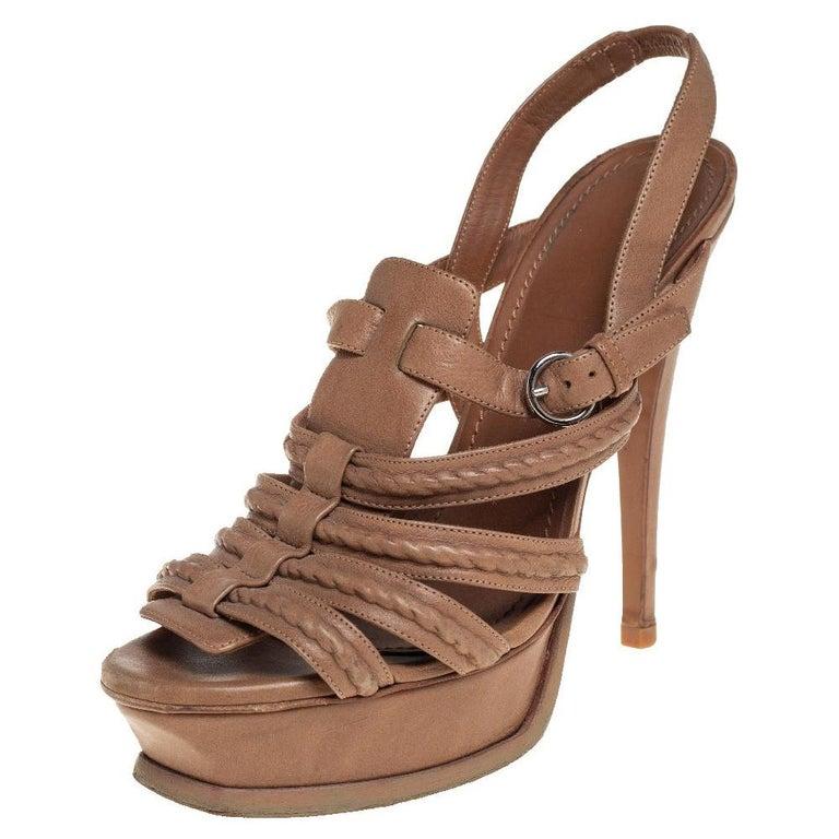 Yves Saint Laurent Beige Braided Leather Hamptons Platform Sandals Size 37 For Sale