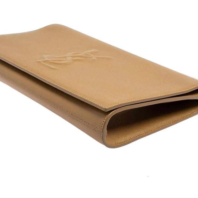 Yves Saint Laurent Beige Leather Belle De Jour Clutch For Sale 7