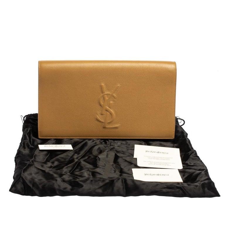 Yves Saint Laurent Beige Leather Belle De Jour Clutch For Sale 9