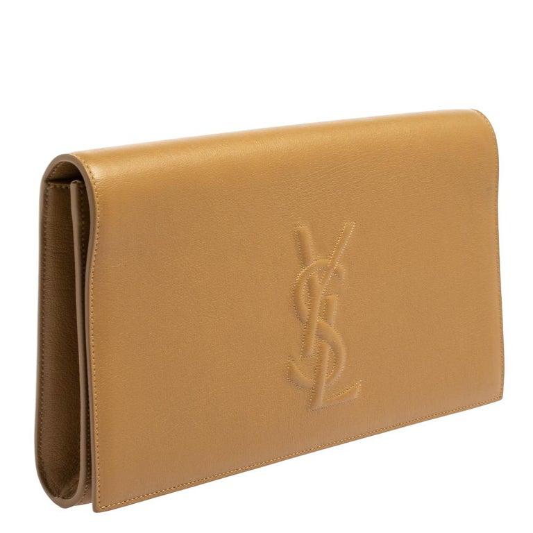 Yves Saint Laurent Beige Leather Belle De Jour Clutch For Sale 1