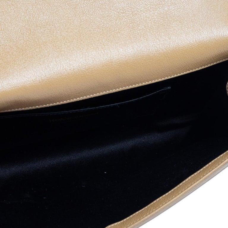 Yves Saint Laurent Beige Leather Belle De Jour Clutch For Sale 4